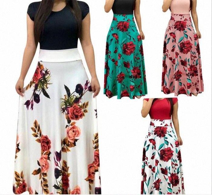 5pcs señoras del verano del resorte del ajuste delgado de onda floral vestido impreso puntos impreso columpio vestido de fiesta largo M442 nooc #