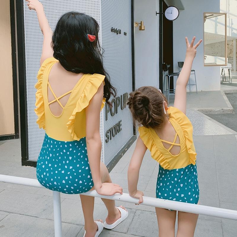 2019 Nova hot-selling pai-filho de uma peça ideia cor sólida babados mãe e filha triângulo maiô menina e maiô Infantil
