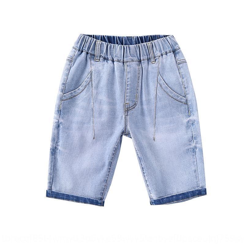 ED0Bb 2019 yazında yeni Jeans Spor erkek kot orta ve büyük çocuklar Kore tarzı orta pantolon çocuk giyim baskılı spor s giymek