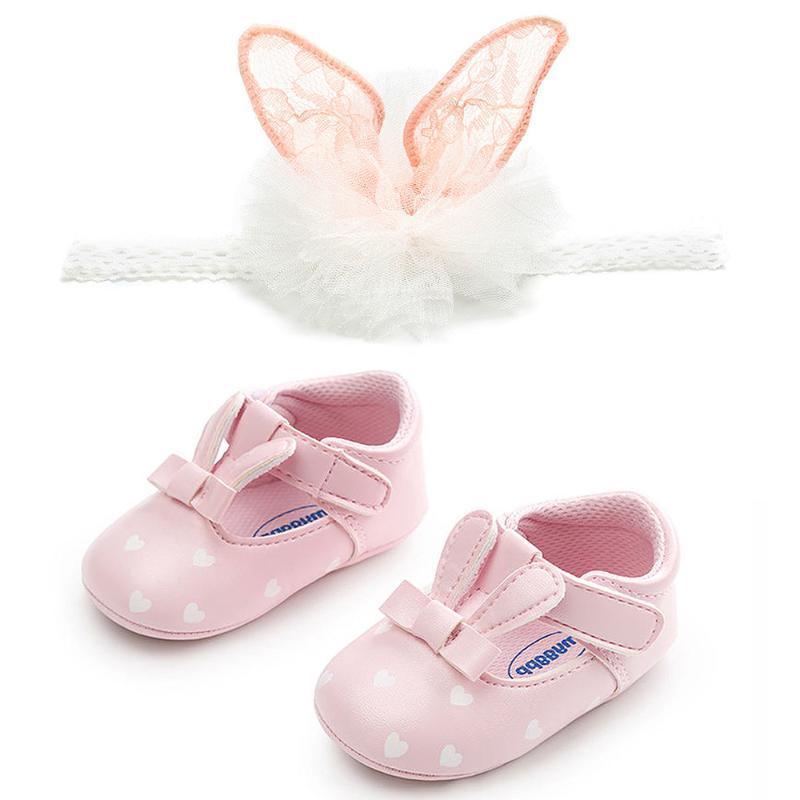 Sevimli Bebek 0-12M Patik Prenses Kız Bebek Prewalkers + Kafa 2PC Çocuk ayakkabıları seti