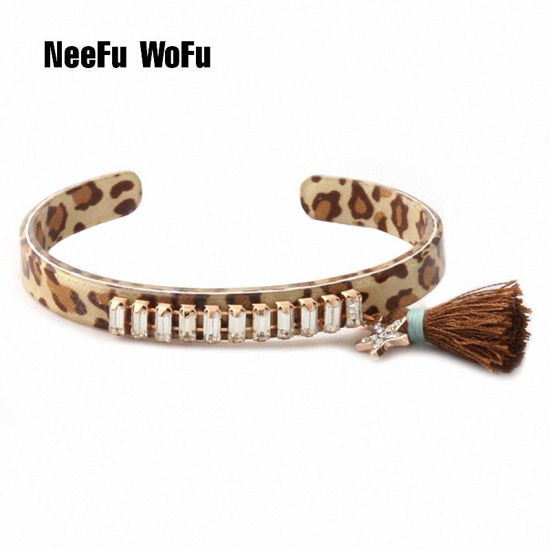 NeeFuWoFu résine Bracelets cristal de luxe bijoux Bracelet femme Cuivre corail pompon ouvert braccialetto gradient gros zzuc #