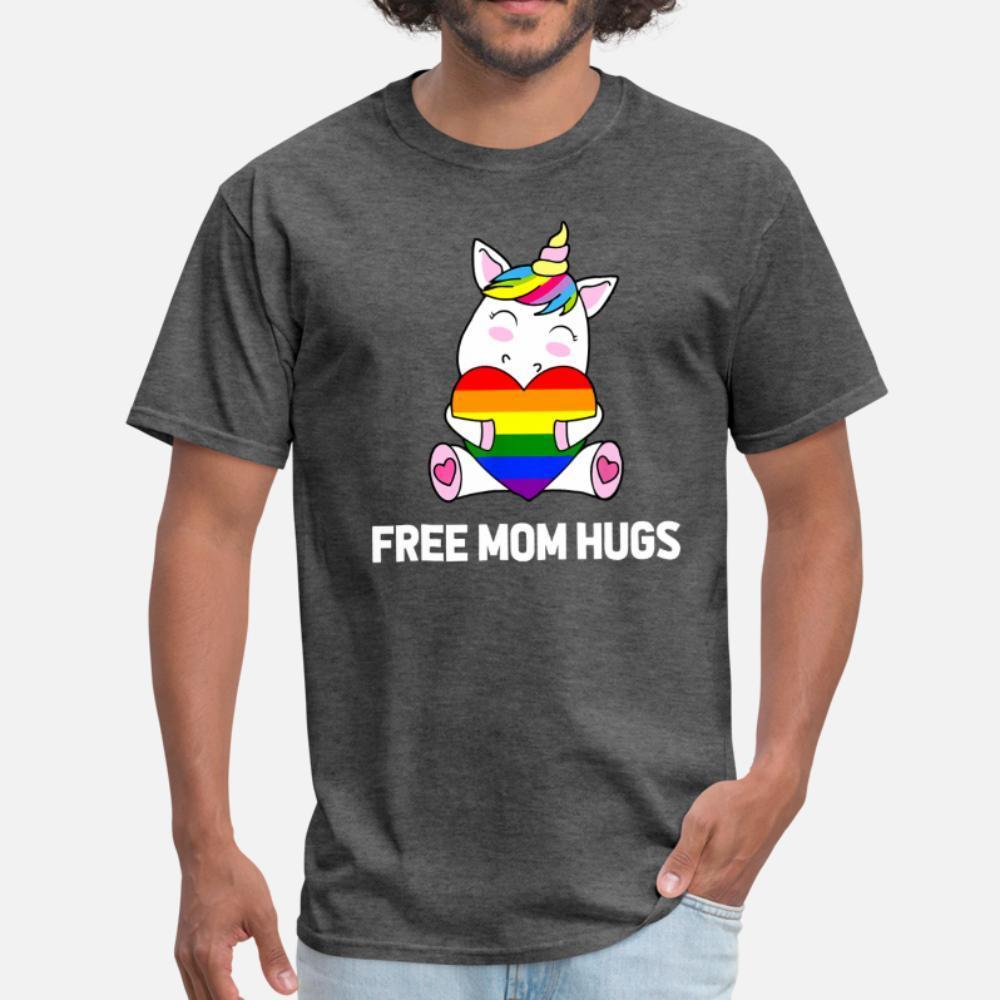 Libero Mamma Abbracci Unicorn Lgbt Orgoglio arcobaleno uomini della maglietta Personalizza cotone rotonda Collare fresco camicia fredda Fit traspirante Primavera