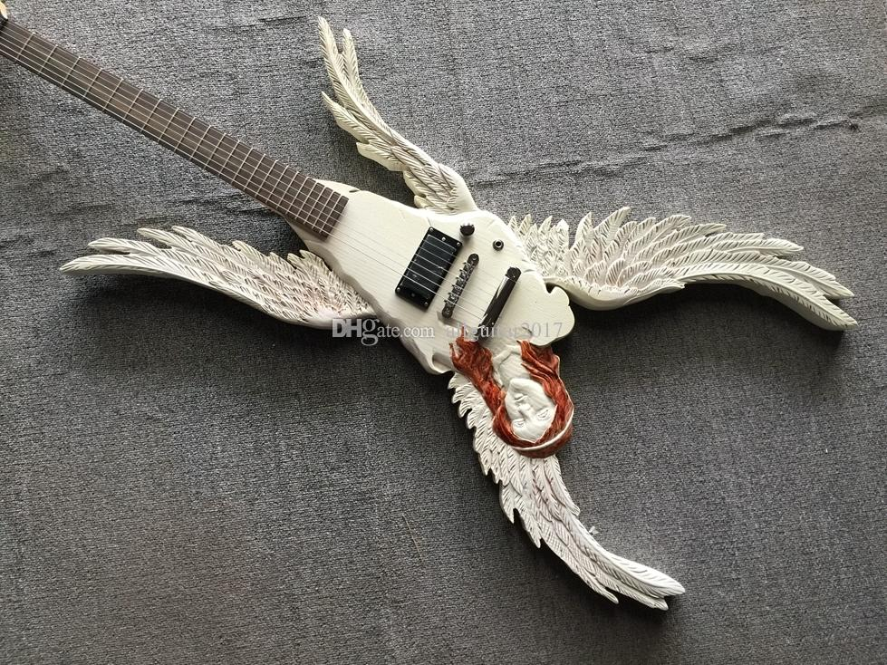 Custom Shop Angel Wings Electric Guitar Manual DIY Beautifully Carved Special-Shaped Electric Guitar ,Active Pickups ,Free Shopping