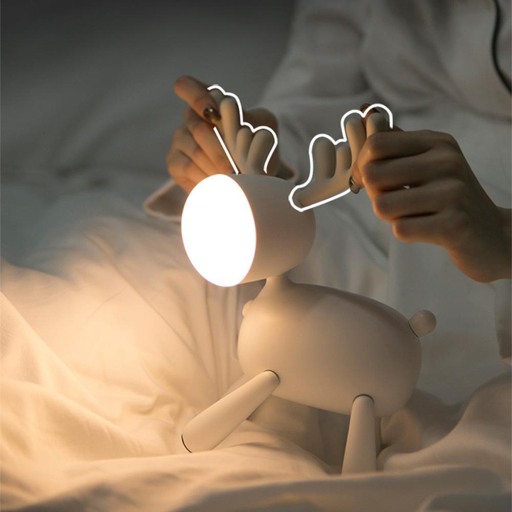 LED-Rotwild-Nachtlicht, Babyernährung Lampe, Schlafzimmer Bettseiten Schlaf-Licht, Nachtlicht, Nachladen, Weich, Timing, Diamming, nette Geschenk