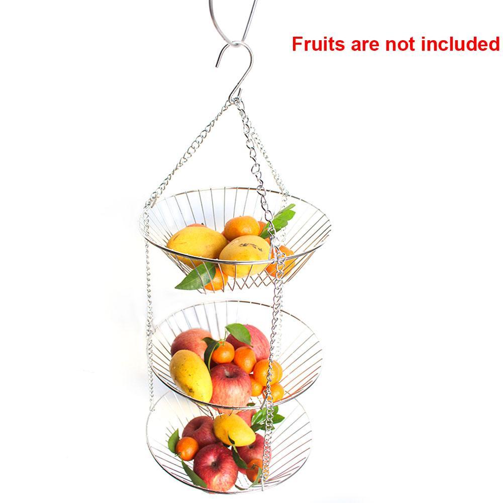 Fruit Basket Organize 3 Niveau de fleur Porte-Easy Clean moderne suspendu fil bonbons