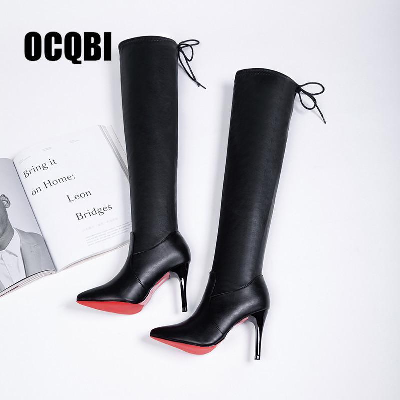 2019 frauen schuhe stiefel high heels rot boden über den knie stiefel leder mode schönheit damen lange stiefel größe 35-39 y200723