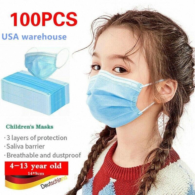 Staub 200 PC Kinder Maske Einweg-Anti 3 Ebenen Gesicht Mund-Maske Gesichtsstaubdicht 3-lagig Kinder Gesichtsmasken Non Woven Jungen-Mädchen-W8Ne #