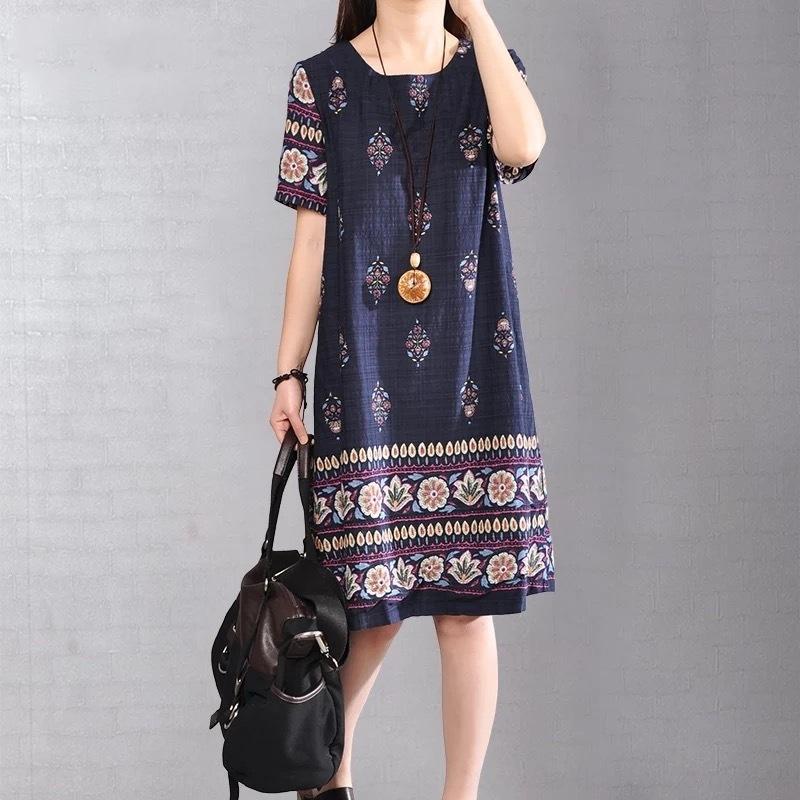 ZQjkS BxFvb 2019 Verão novo estilo coreano pescoço grande roupas tamanho das mulheres vestido estampado vestido rodada de manga curta de comprimento médio
