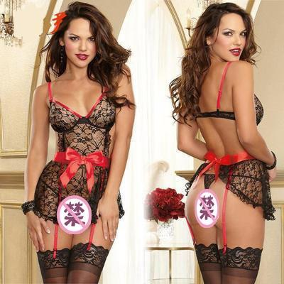 TOSIn b3tup suit new lace perspective bow suspender nightdress Sling Sling Underwear underwear new perspective lace sexy bow suspender night