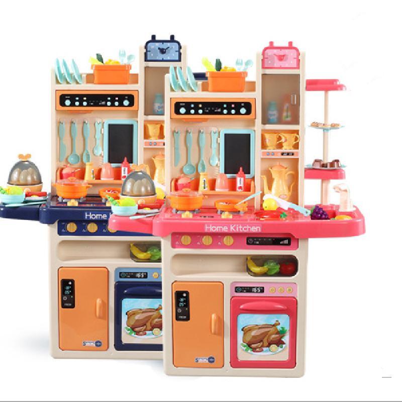 65 stücke Kinder Kinder Lebensmittel Kochen Set Küche Spielen Pretend Spray Light Music Simulation Mini Wasser Weihnachten Mädchen 93cm Spielzeug Geschenke Ctquu