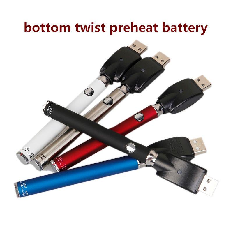 법률 예열 VV 배터리 바닥 트위스트 350mAh 버텍스 vape 펜 가변 전압 USB 충전기 배터리 키트 510 나사 두꺼운 오일 카트리지 탱크