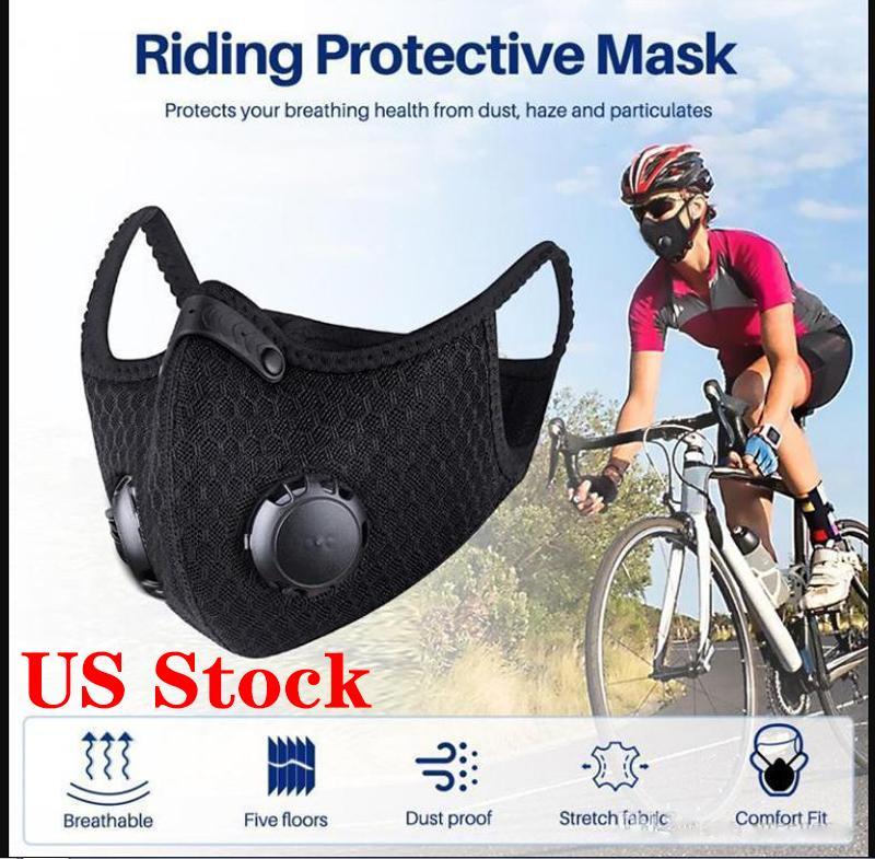 US STOCK! Cyclisme masque facial avec filtre charbon actif PM2,5 Anti-pollution Sport Protection Courir Formation Masque anti-poussière Cycling Caps FY9060