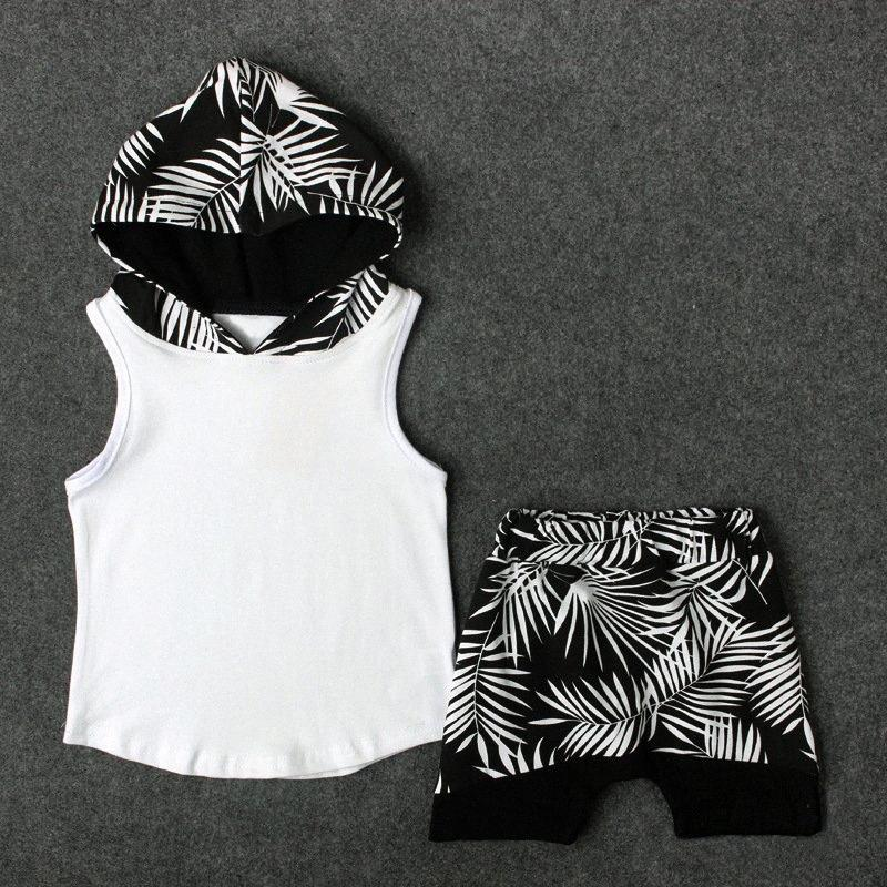 2-6Yrs Meninos encapuçados roupas de algodão Primavera Crianças sleveless Tops + calças florais 2pcs Set Outfits fIvP #
