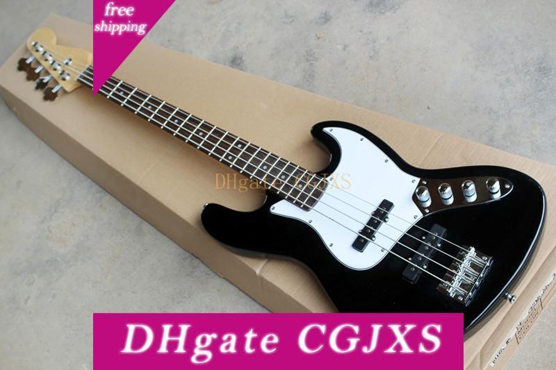 Fabrik Custom Black 4 Strings Jazz E-Bass, weißes Schlagbrett, Chrome Hardware, Angebot Customized