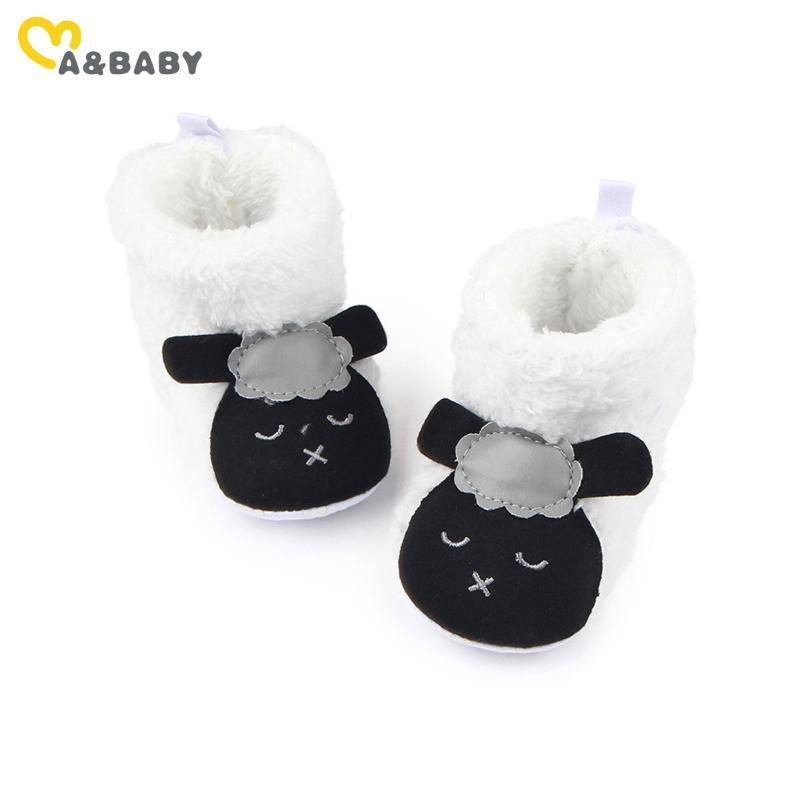 Zapatos felpa 3-12M niño recién nacido del bebé niña Botas de dibujos animados lindo de las ovejas de nieve los cargadores calientes para el bebé de invierno