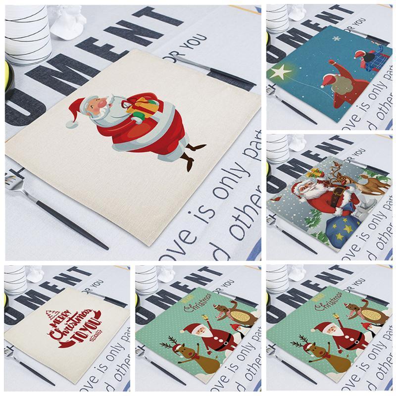 Merry Christmas Printed Table Napkins for Wedding Party Cartoon Santa Kitchen Napkin Cloth Western Dinner Home Stoffservietten
