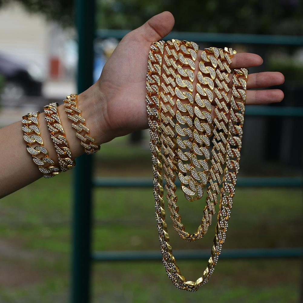 Europa e nos Estados Unidos nova liga banhado a ouro 18K lua cravejado de pedra 17 milímetros homens cadeia Miami cubana exagerada hip hop pulseira colar
