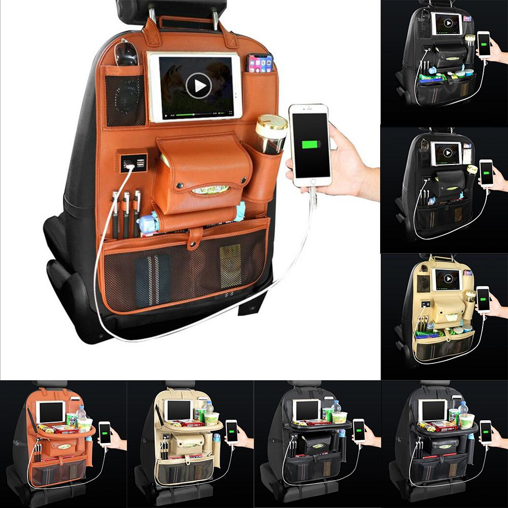 2020 Sac de rangement de voiture automobile Siège Multi Pocket Voyage de voyage Cintre de locataire voiture Chargeur USB Couverture de siège de l'organisateur Titulaire de l'organisateur BackSeat