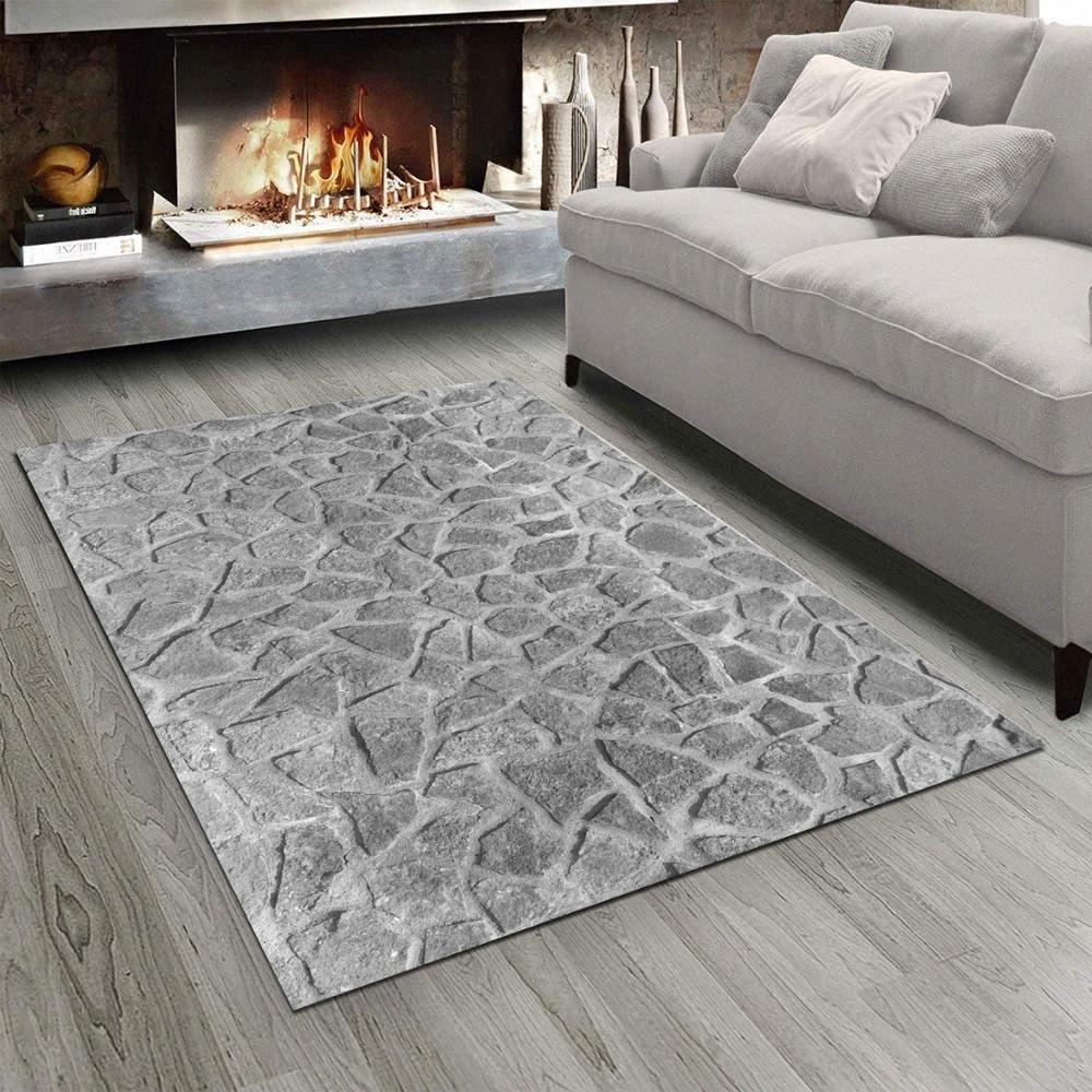 Else blanco gris Pared de piedras de impresión en 3D no del resbalón de microfibra Sala de estar moderna alfombra lavable manta de área de Mat MRWB #