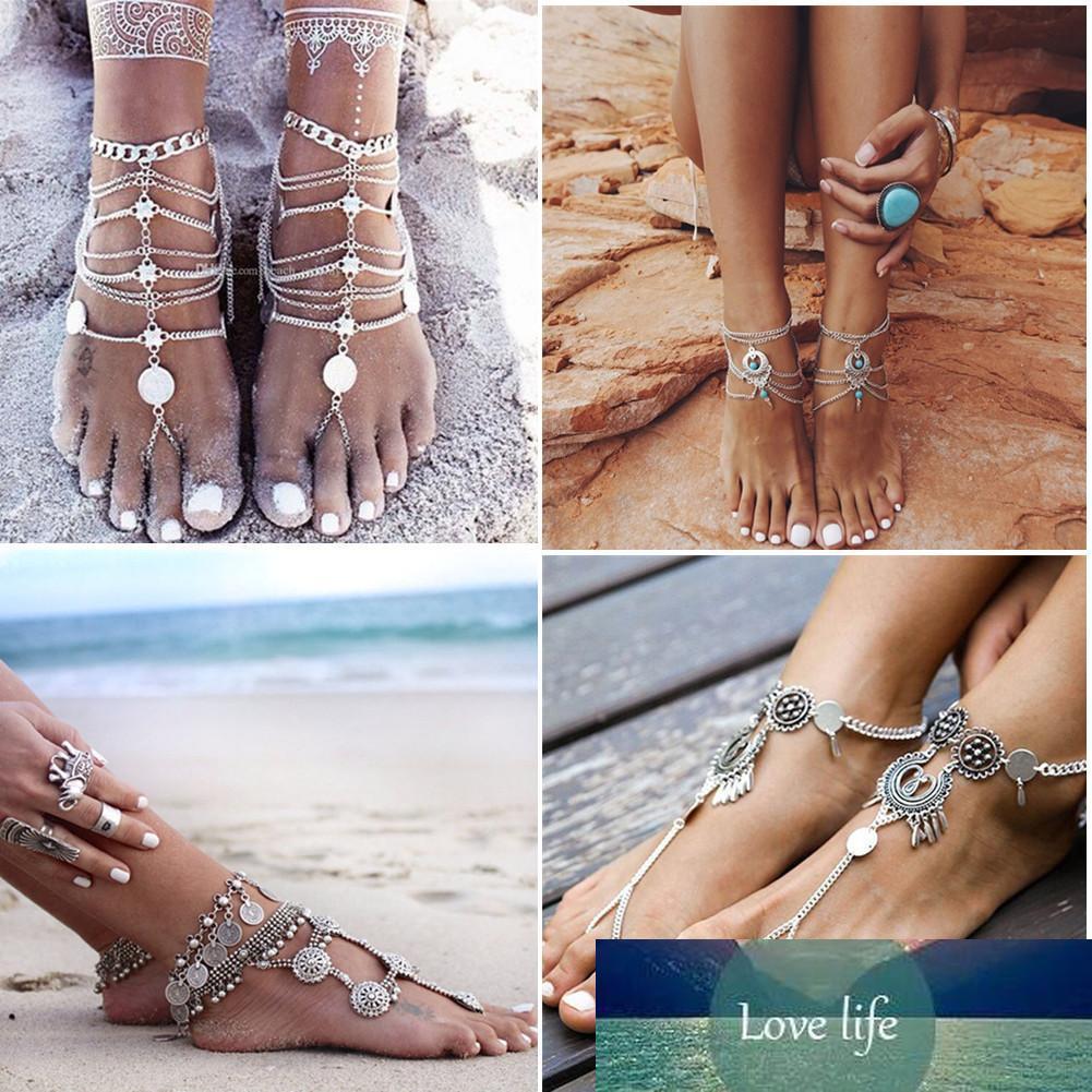 Kadınlar Bohemian Plaj bikini Halhallar Ayak Zincirler takı Aksesuarlar Yeni için Antik Gümüş Halhallar Zincirler Moda Para Püskül Bacak Bilezik