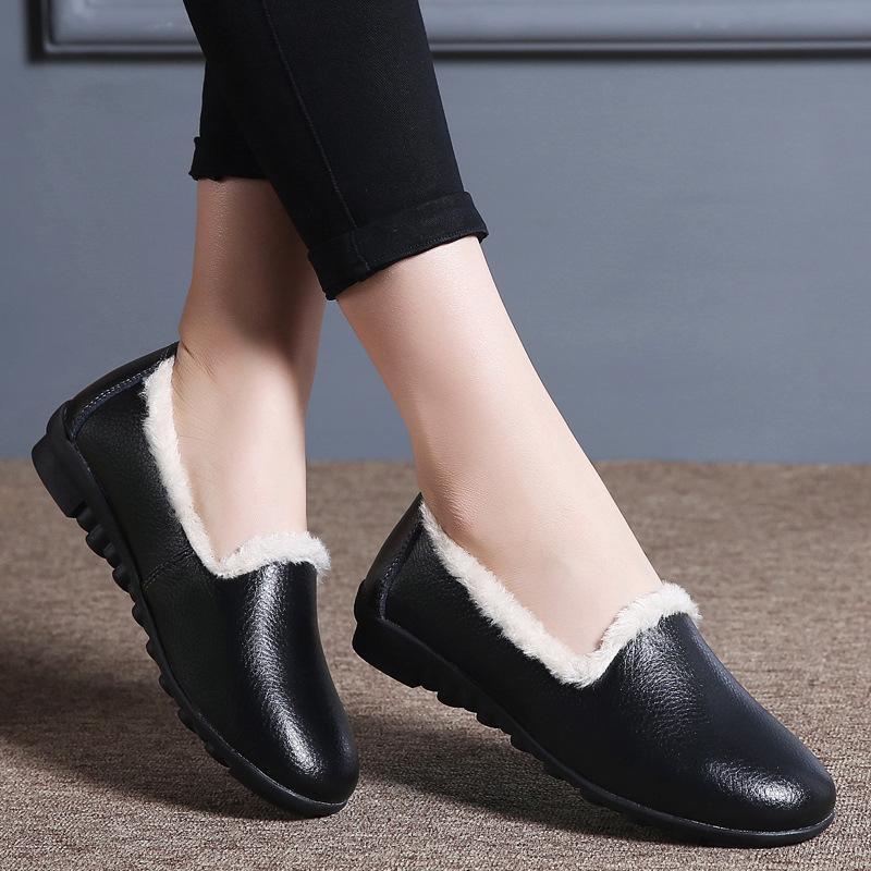 2020 Yeni Kış Kadın Ayakkabı Moda Deri Ayakkabı Sıcak Kaymaz Flats Hafif Büyük Boyut Kadın ayakkabı