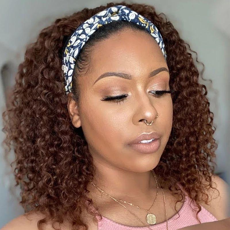parrucca riccia fascia capa diva della moda naturale con i capelli fascia umani per le donne di colore parrucca glueless metà fascia 150% della densità nero marrone