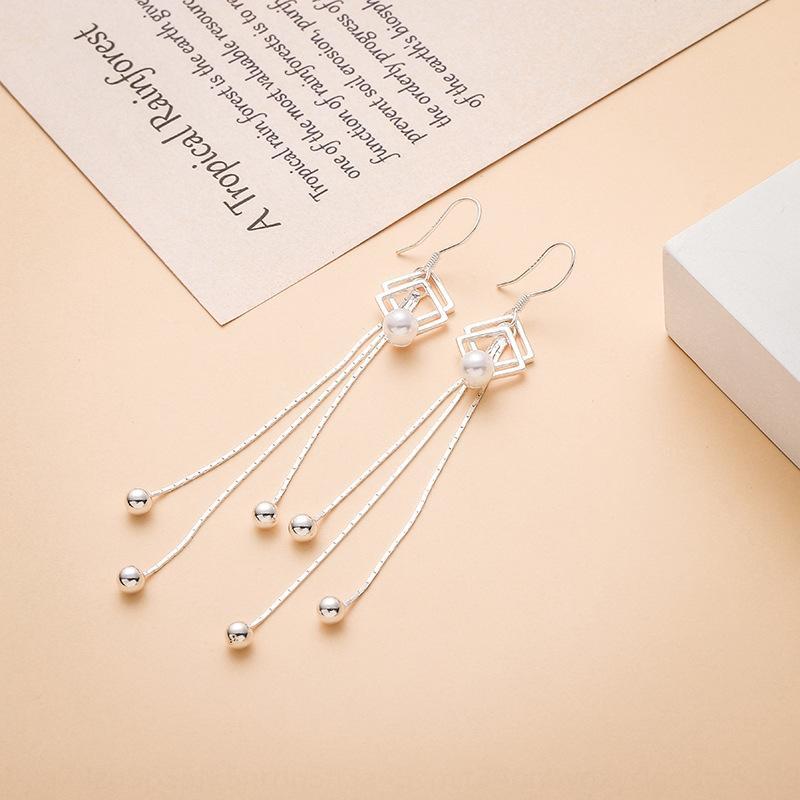 argent sterling style long perles chinois et coréens 990 boucles d'oreilles pompon en argent Boucles d'oreilles perles vivent cadeau Saint-Valentin 3LW6n