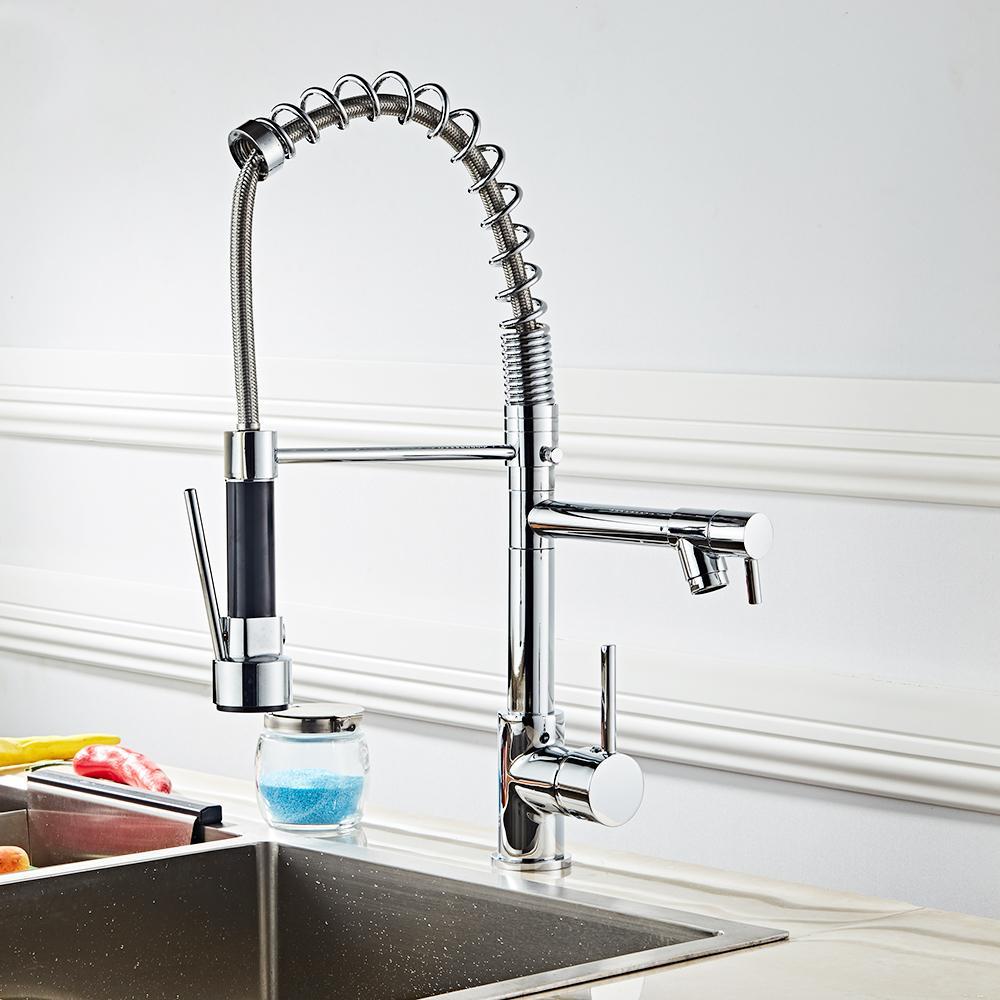 Todos Copper Kitchen Faucet de aço inoxidável 360 Rotatable Tipo de extensão saída dupla Primavera torneira pode Ajuste Comprimento da Mangueira