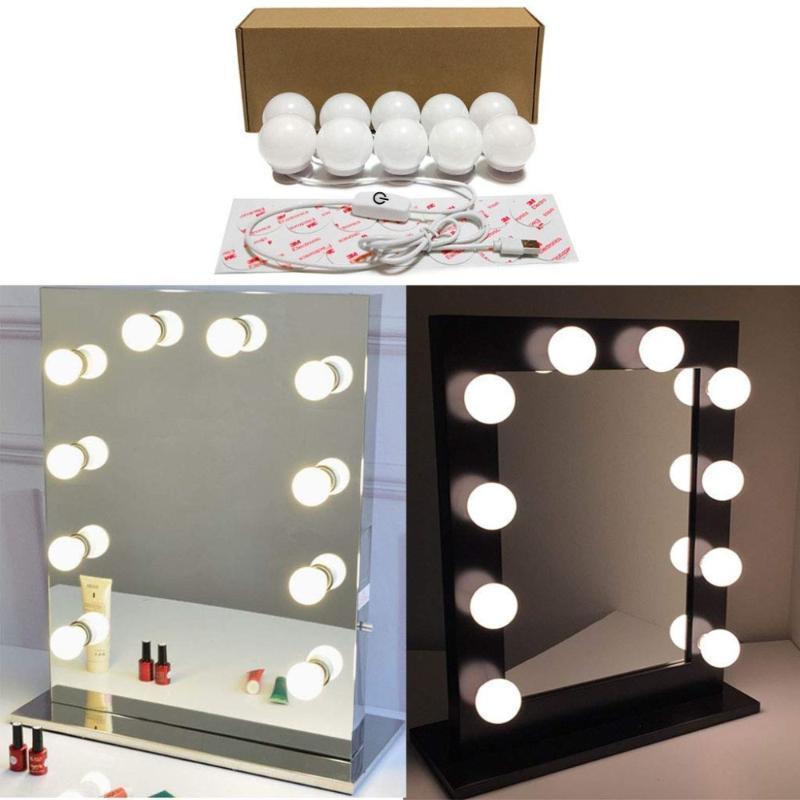 Голливуд Стиль Косметическое зеркало Освещение макияжа Суета Light Kit с 10 Косметические Туалетный лампы USB источник питания в Гардеробная