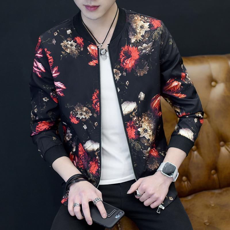 2020 rivestimento sottile Moda Uomo Fit Mens floreale Giacche manica lunga casuale Bomber marchio di abbigliamento Plus Size cappotti Windbreaker