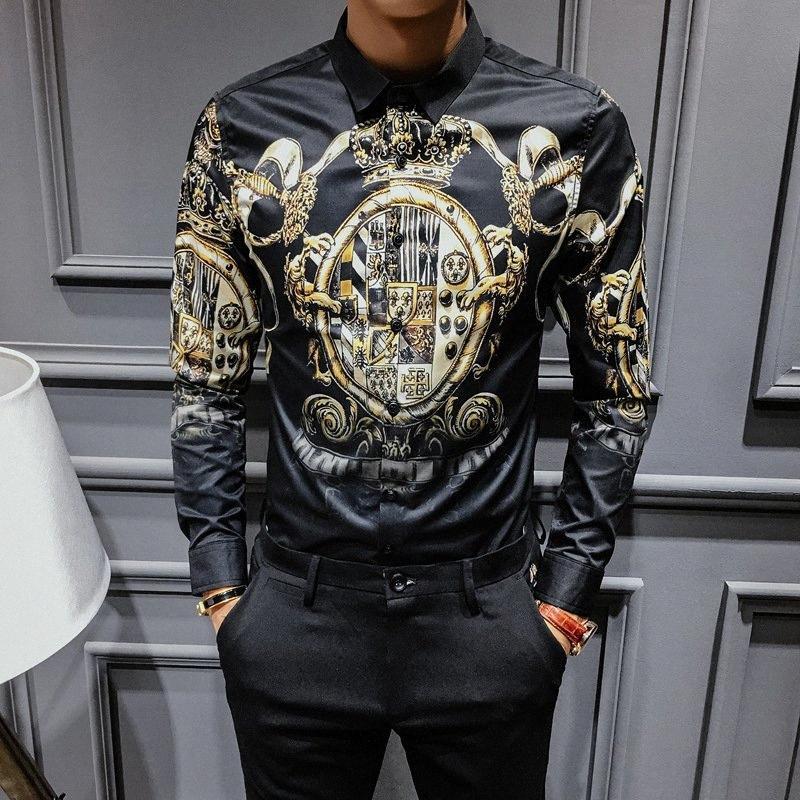 2019 Ouro preto impressão Camisetas masculinas barroco Slim Fit Party Club shirt dos homens Camisa Homem de luxo camisa de manga longa Plus Size 4XL FGq6 #
