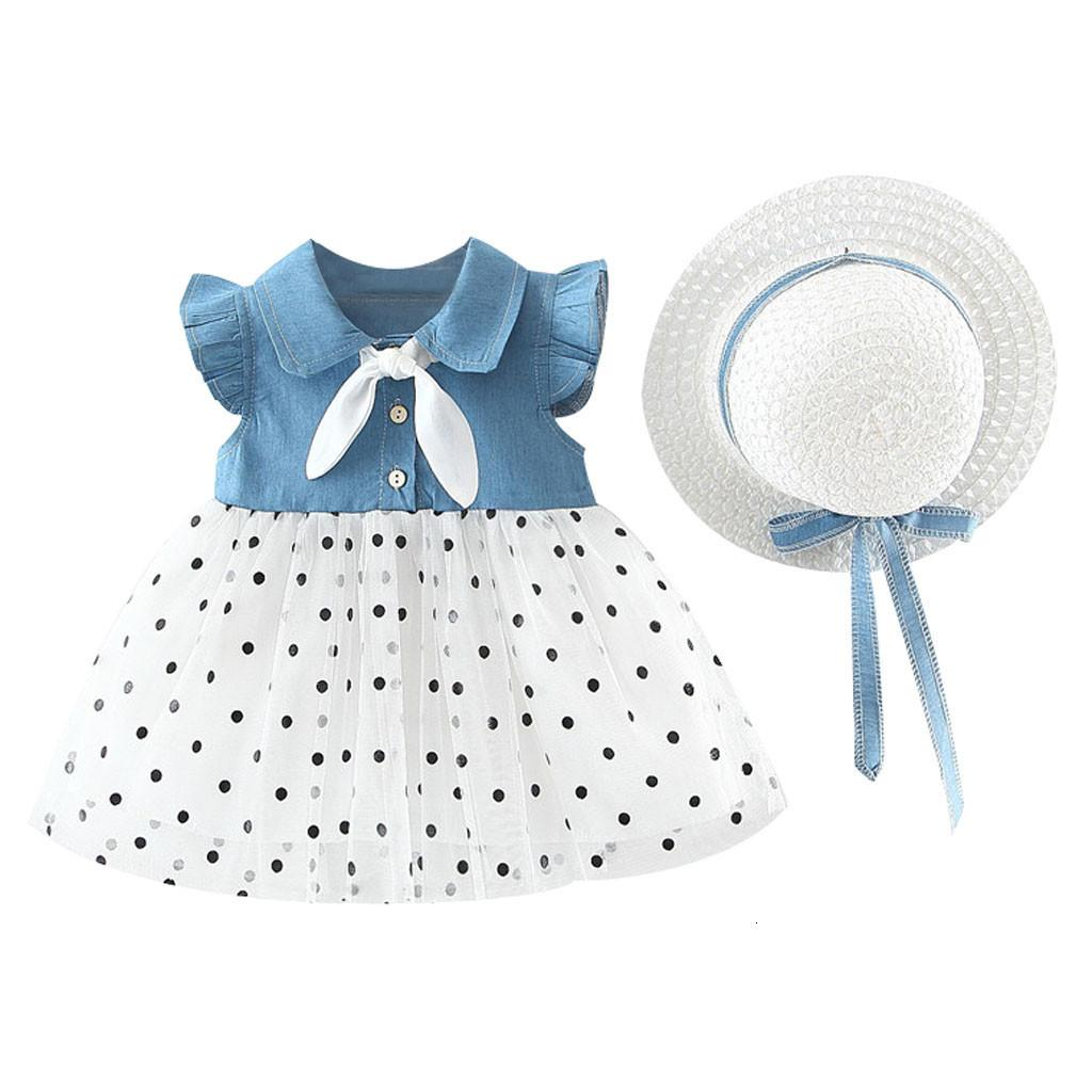 Toddler Girls Dresses 2020 Summer Hat 2 Pieces dress Set Children's Clothes Baby Sleeveless Birthday Party Princess Print Dresses