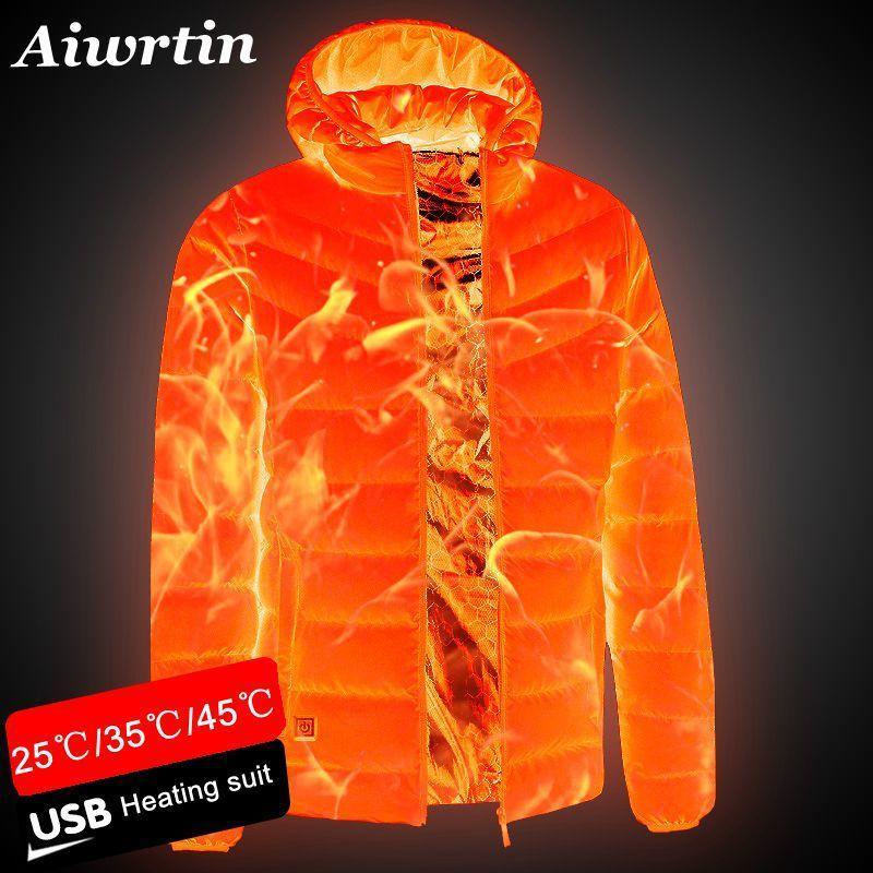 2020 новых людей с подогревом куртки Открытый Coat USB Электрические батареи Длинные рукава Нагревательные с капюшоном куртки теплая зима Термическое Одежда CX200814