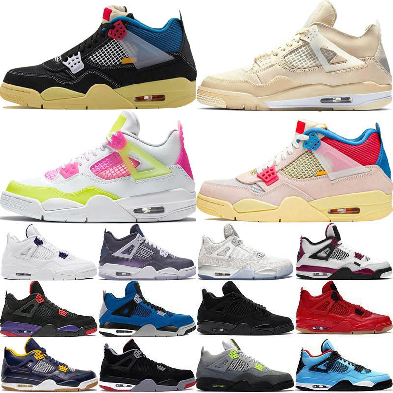 أحذية Nike Air Jordan 4 Retro Jumpman أعلى ارتفاع الاتحاد حزمة الطمي معدنية 4 فون 4S الرجال لكرة السلة القطة السوداء النيون ترافيس سكوتس الرجال رياضة المرأة أحذية رياضية حجم 36-47
