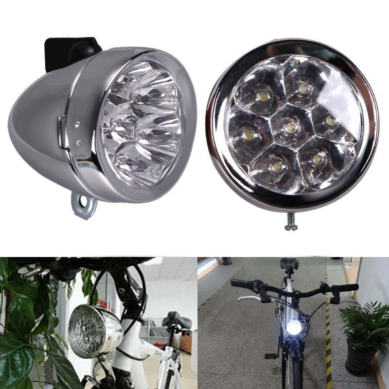 Retro Bicycle Headlight Bike Accessory Front Light Bracket Vintage 7LED Headlight Cycling Safety Warning