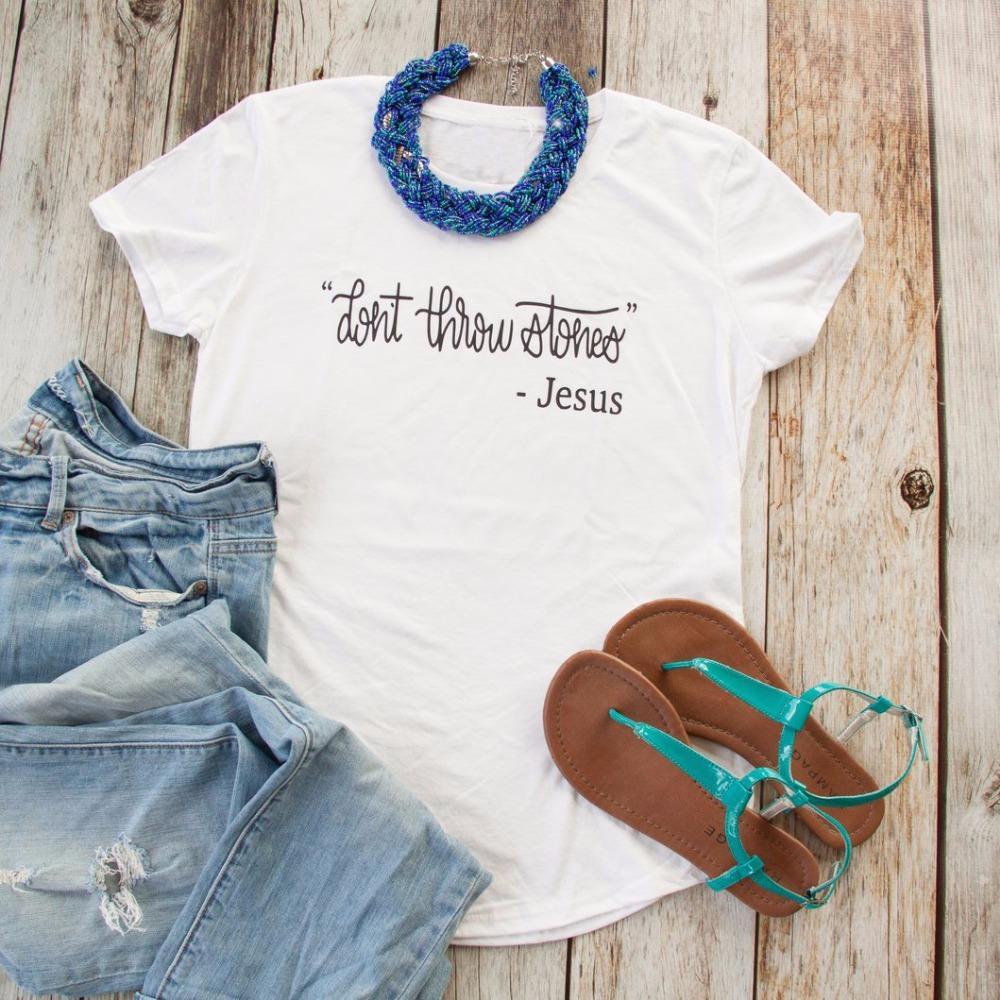 Taşlar, üçlü Kısa Gömlek isa kadın moda atın etmeyin pamuk beyaz sloganı tee alıntı gömlek harajuku sanat tee başında