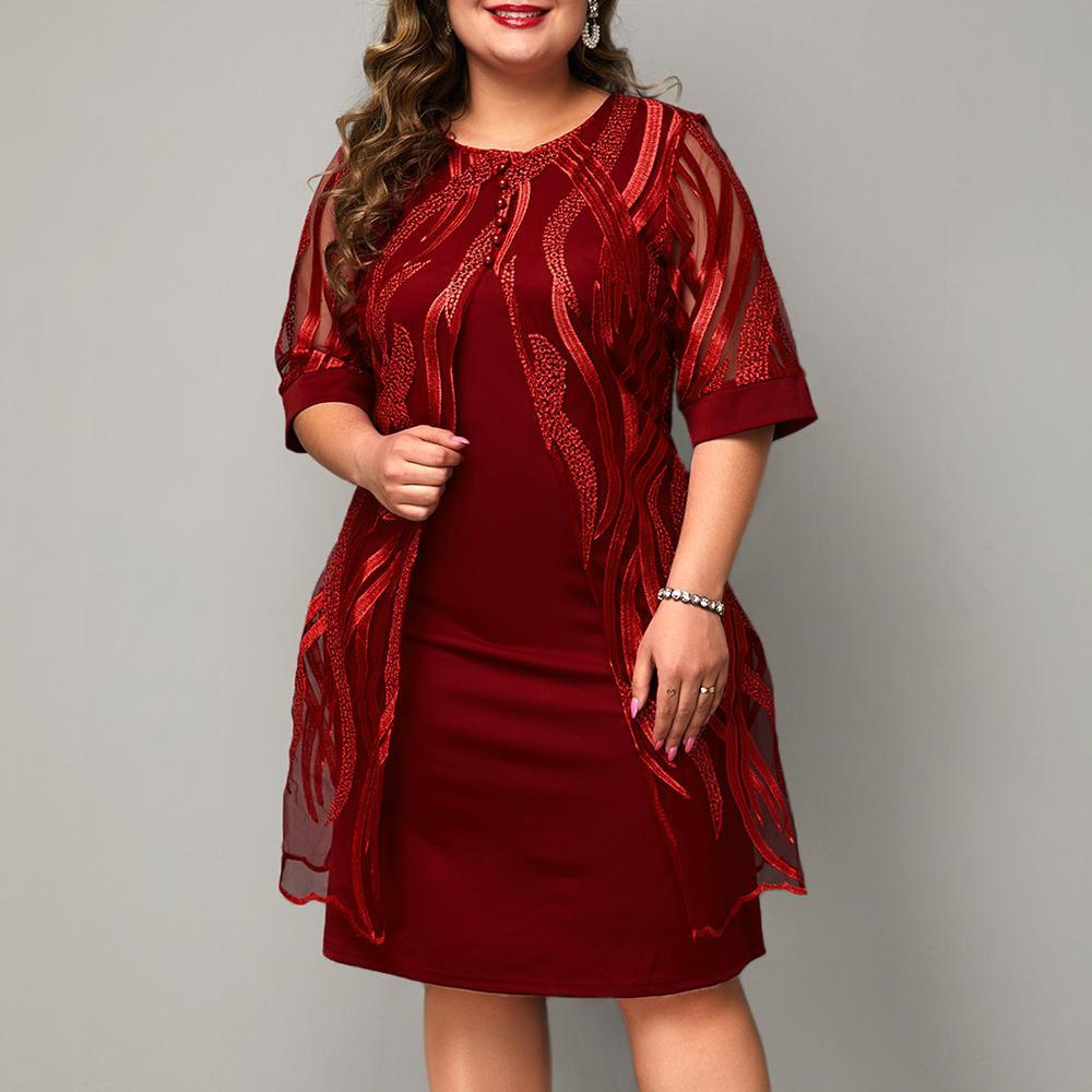 Sale 6XL Plus Size Woman Dress Red wine Elegant Dresses for Women Large Size Lace Dress Mesh short sleeve Vestidos D30