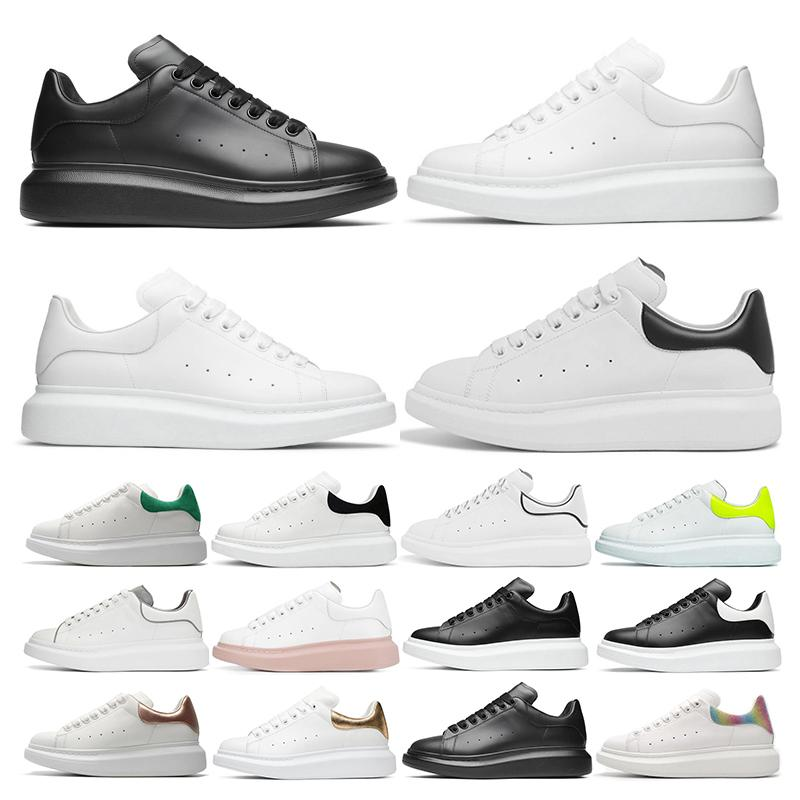 Diseñador REFLECTIVO Zapatos de plataforma para niña Mujer Hombre blanco negro Zapatos de plataforma de cuero Planos Casual Fiesta Boda Deportes tamaño 36-44