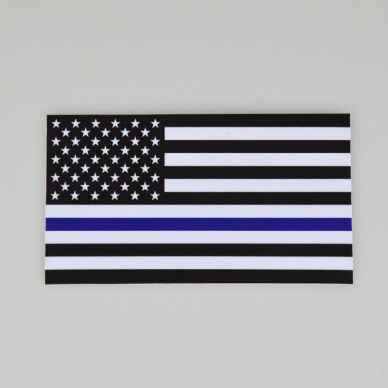 자동차에 대한 DHL 얇은 블루 블랙 라인이 미국 국기 데칼 스티커 트럭 컴퓨터 6.5 * 11.5CM US Flag 자동차 칼 창 스티커 자동차 - 스타일링