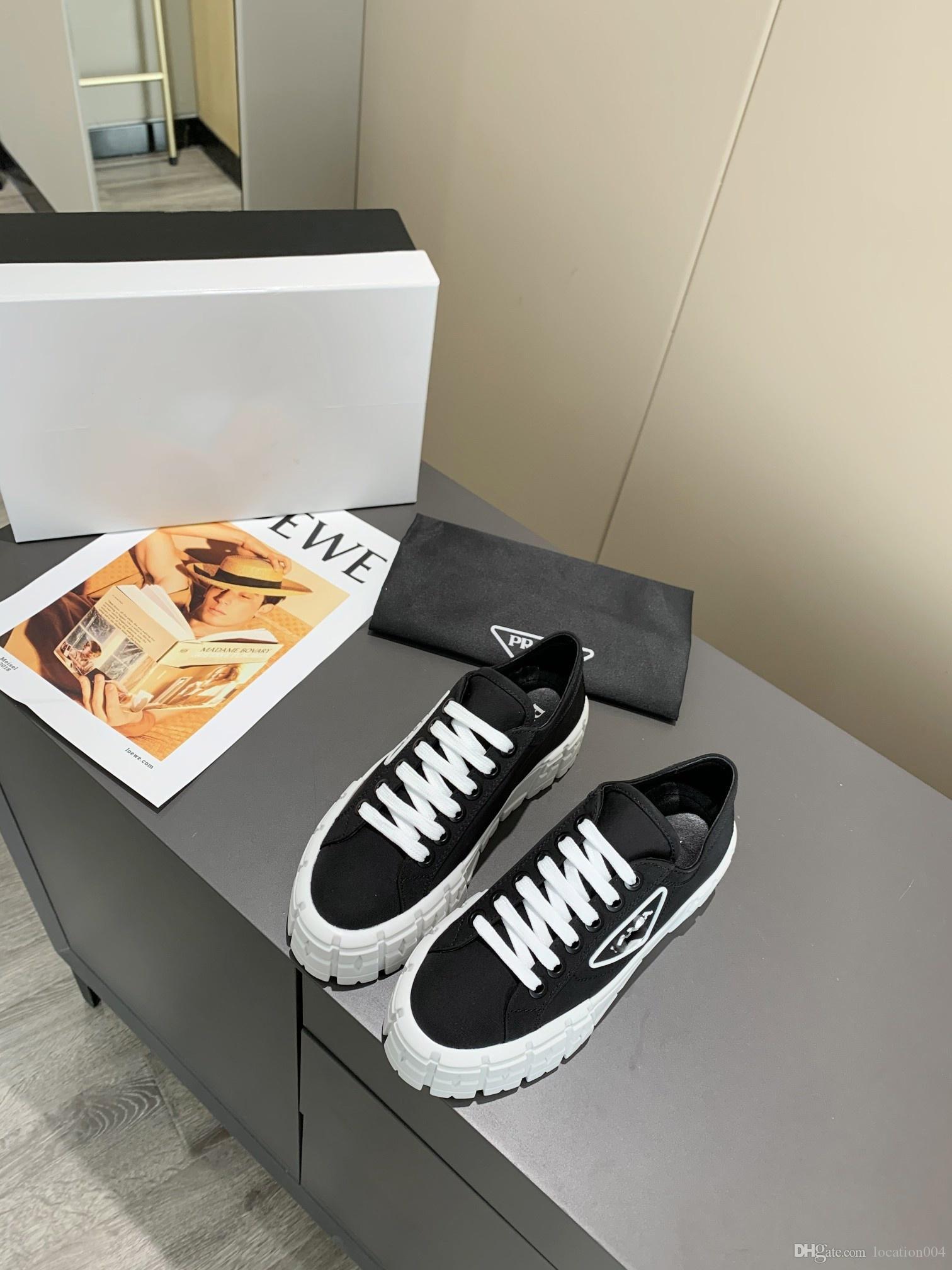 Prada 2020 mpermeable sandalias retro top zapatos de lona de las mujeres los zapatos de diseño zapatos de tela 35-39