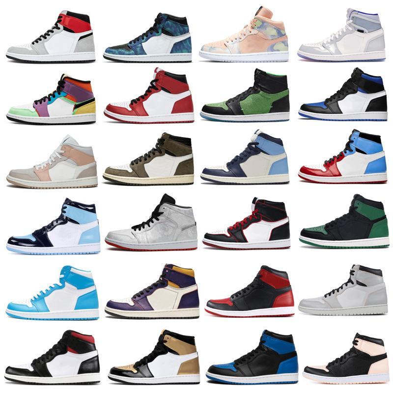 1 Og alta Luz de humo gris zapatos de baloncesto del Mens Shattered Tablero Jumpman 1s Obsidiana UNC blanca a Chicago Mujeres zapatillas de deporte