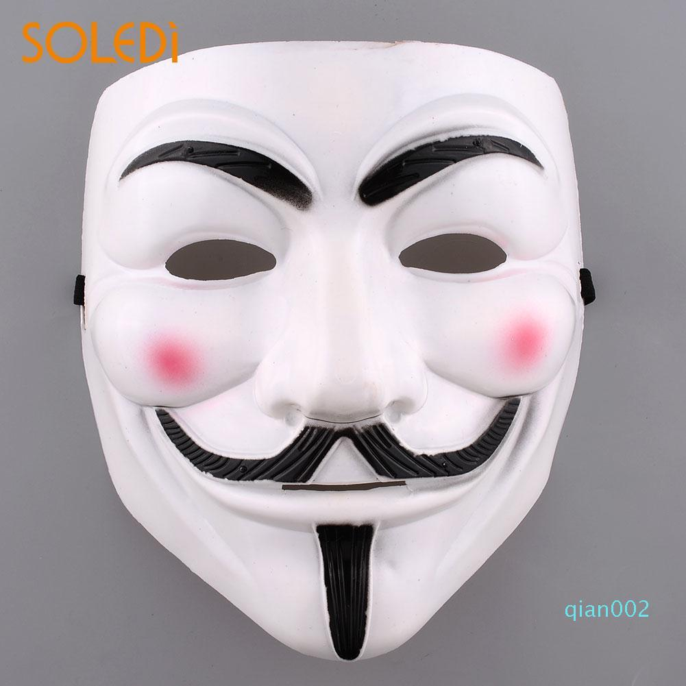 Vendetta Halloween Cosplay Fantaisie Dressing V Masque Guy Fawkes Maquillage Blanc / Jaune
