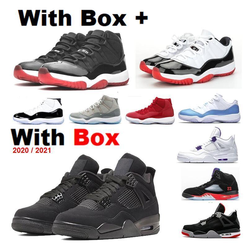 Nova 2021 Neon 4S 11s Bred sapatos Low Men Basquete Concord 45 de cimento vermelho puro 4s laranja metálico fresco Grey Homens Sneakers
