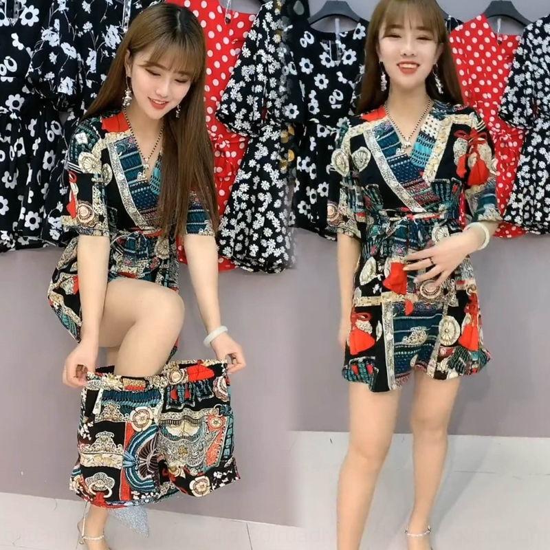 Стили Li0Ve Несколько i4uKh шифон два частей набора шорты платья 2020 женщин лета костюма похудение платья шорт женской моды