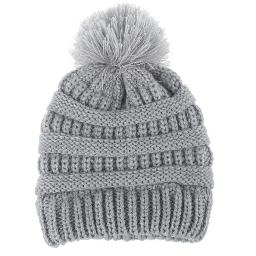couleur unie du nouveau-né de la mode mignon Keep chaud chapeaux d'hiver laine tricotée Hemming Chapeau mignon marque à la mode 13 nouveaux Août