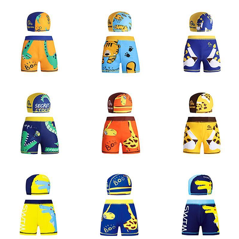 Conjuntos rapazes Calções de Praia com Piscina Hat Summer Beach Board Shorts animal impresso Swim Trunks dos desenhos animados Boardshorts Crianças Swimwear 10 cores