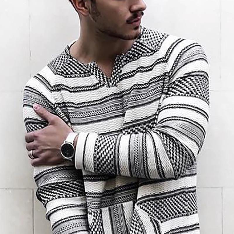 Sokak Stili Gevşek Uzun kollu V Yaka T-shirt Moda Erkek Tees Çizgili Baskılı Erkek Tasarımcı Tshirts Casual