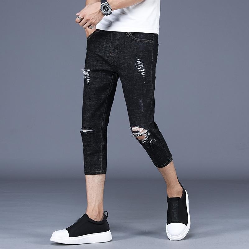 npZYI Primavera e calças e alongamento dos homens magros cortada tornozelo-comprimento das calças de brim magros verão calças cortadas calças de brim dos homens 280