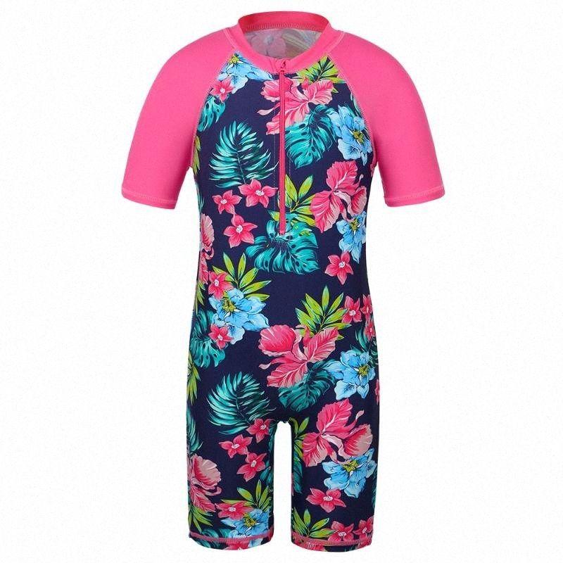 BAOHULU Floral Marinha Crianças Swimsuit UV UPF50 + manga curta criança Meninas Swimwear Crianças Swimming Suit Beachwear para 2-11 Yrs qWSR #