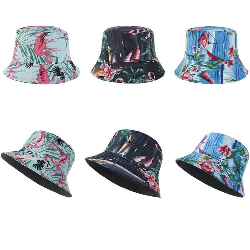 Свободный DHL INS Новые Женщины Девушки Ковш шапки Flamingo Designer 3 Стили Cap Цветочные Прекрасные Летняя Мать Дети Мода рыболова шапки